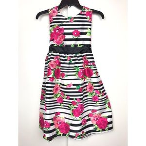 Striped Floral Sleeveless Dress Sz 12